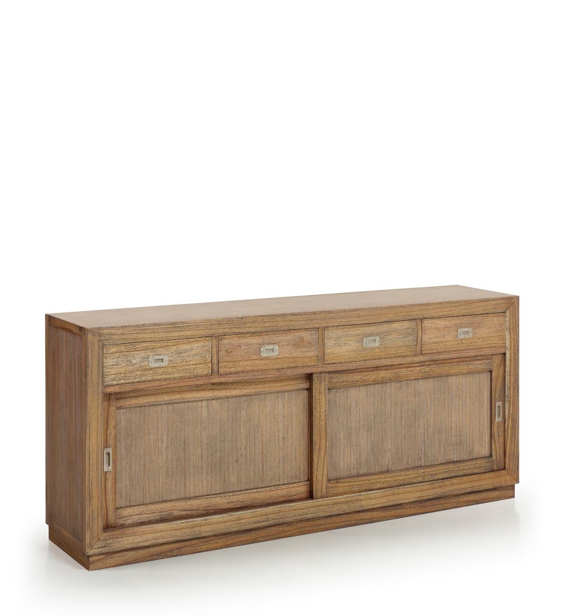 Comoda din lemn cu 4 sertare si 2 usi glisante, Merapi Natural, l200xA50xH90 cm somproduct.ro