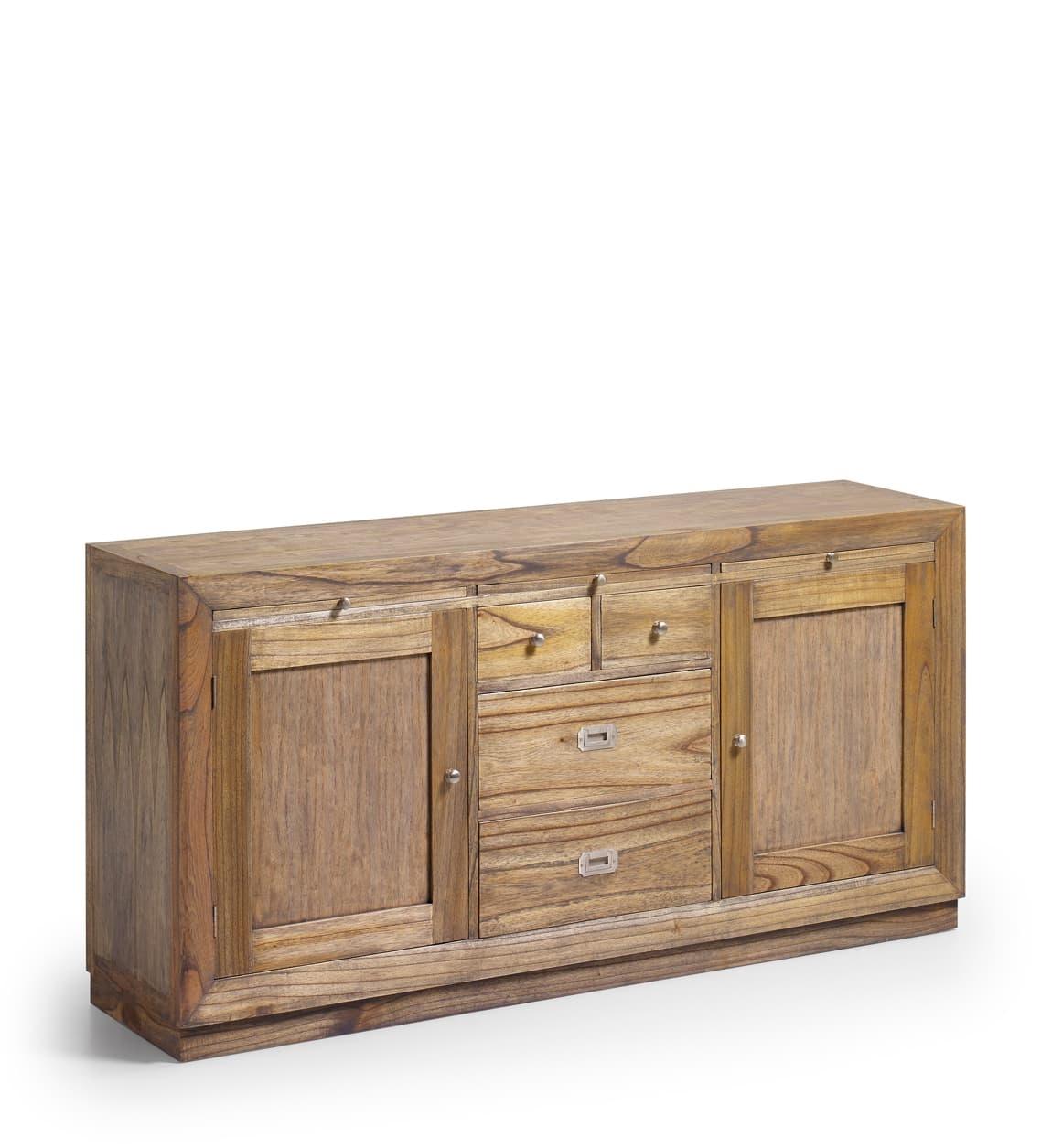 Comoda din lemn cu 4 sertare si 2 usi, Merapi Natural, l160xA40xH80 cm somproduct.ro