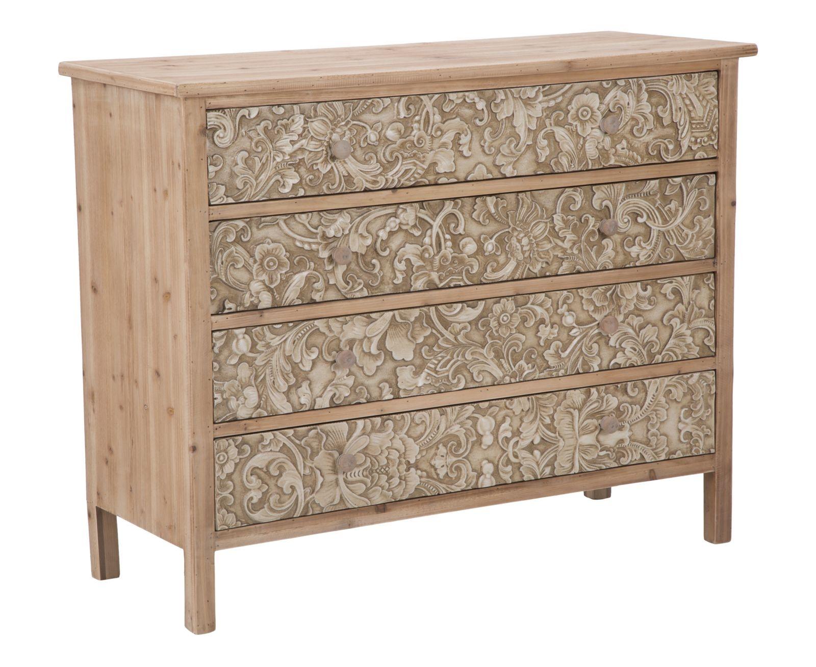 Comoda din lemn de brad si MDF cu 4 sertare Reinassance l100xA40xH80 cm