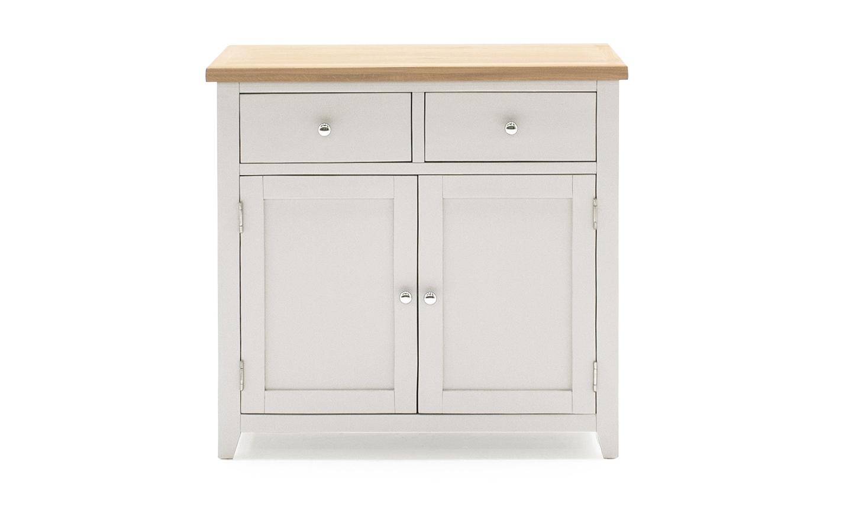 Comoda din lemn de pin si MDF cu 2 sertare si 2 usi Ferndale Small Grey / Oak l90xA37xH85 cm