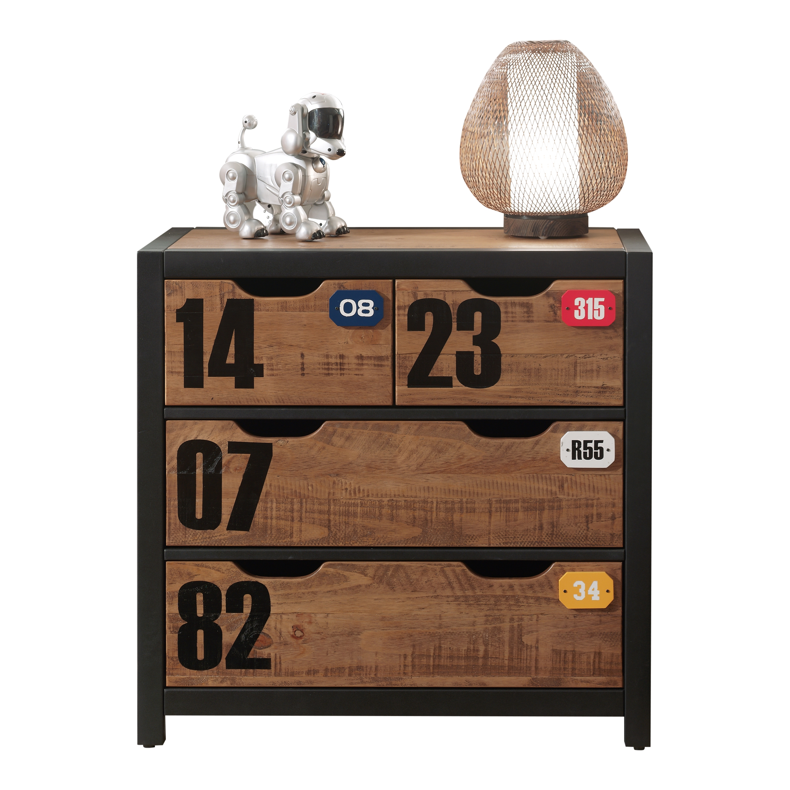 Comoda din lemn de pin si MDF cu 3 sertare, pentru copii Alex Natural / Negru, l86xA42xH83 cm imagine