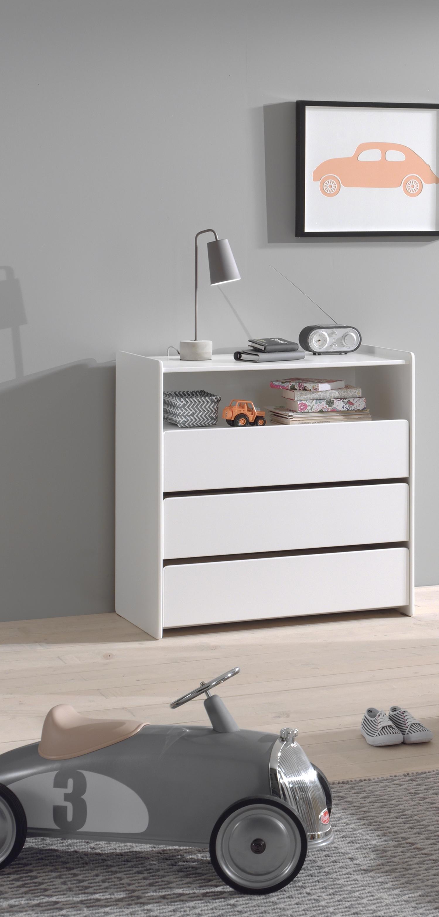 Comoda din lemn de pin si MDF cu 3 sertare, pentru copii Kiddy Alb, l90xA55xH92 cm imagine