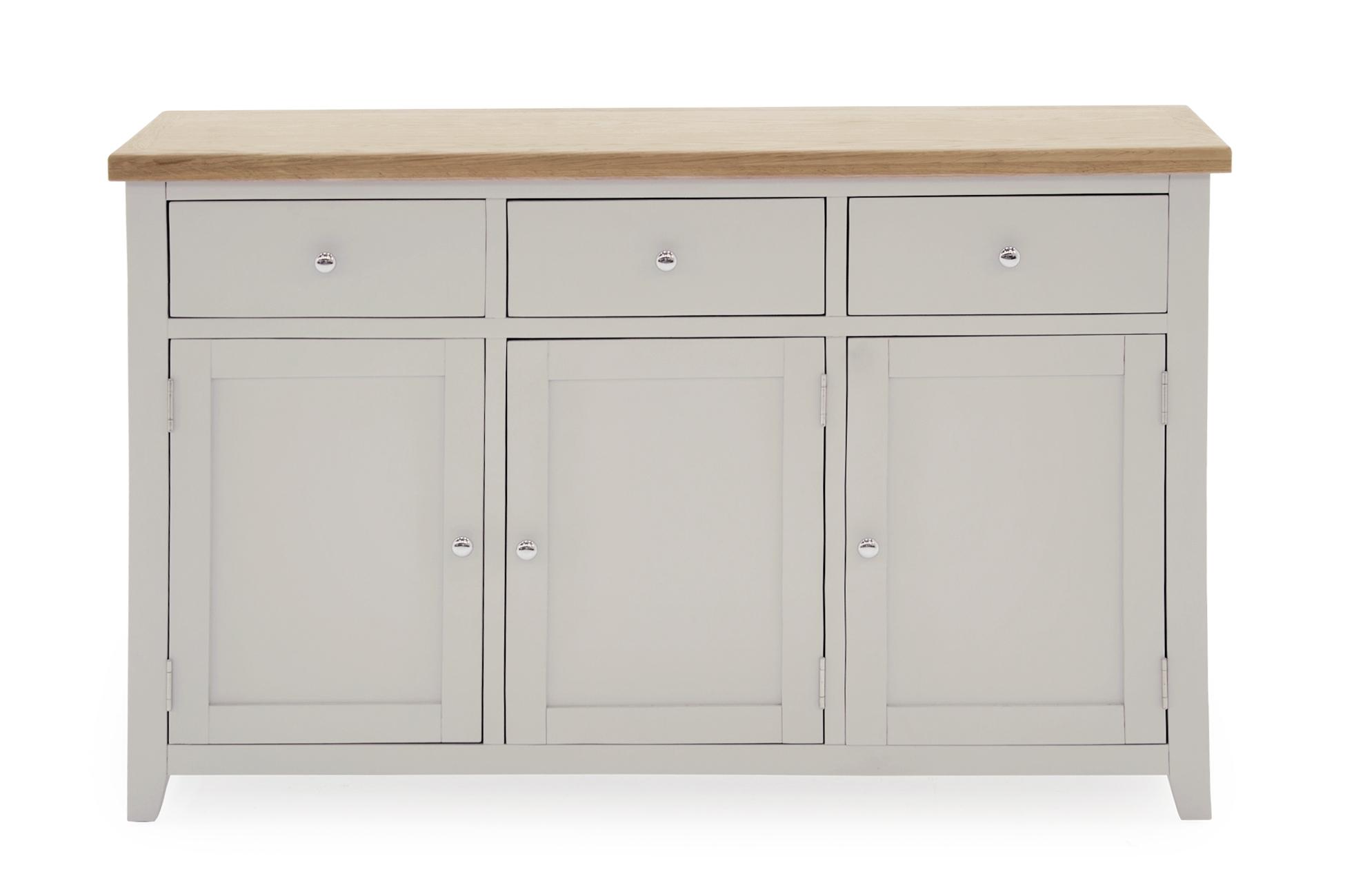 Comoda din lemn de pin si MDF cu 3 sertare si 3 usi Ferndale Large Grey / Oak l137xA44xH85 cm