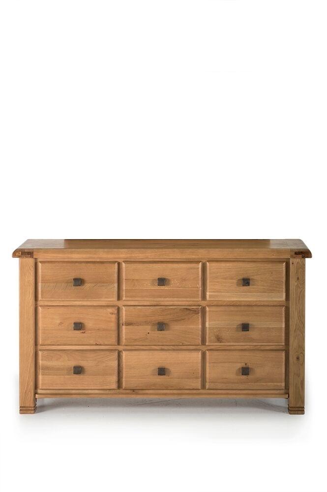 Comoda din lemn de stejar cu 9 sertare York Oak l150xA45xH825 cm