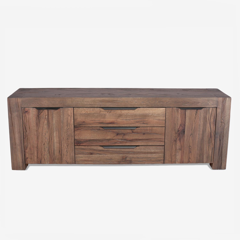 Comoda din lemn de stejar salbatic cu 3 sertare si 2 usi Emma l220xA50xH76 cm