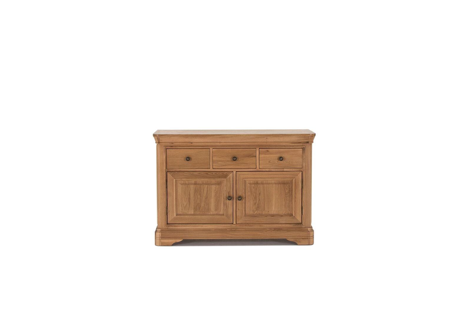 Comoda din lemn de stejar si furnir cu 3 sertare si 2 usi Carmen Oak l120xA465xH83 cm