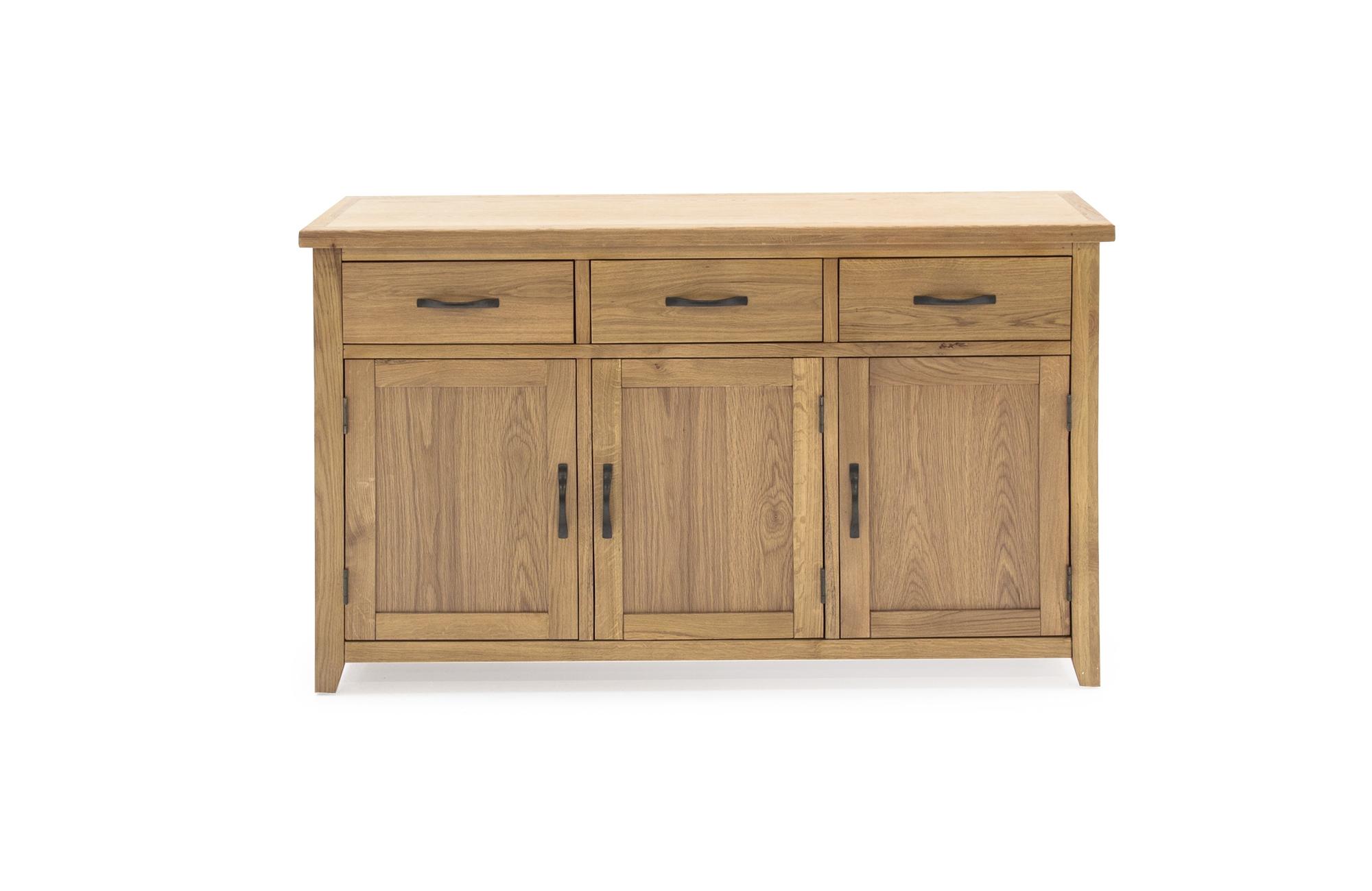 Comoda din lemn de stejar si furnir cu 3 sertare si 3 usi Ramore Large Oak l137xA44xH85 cm