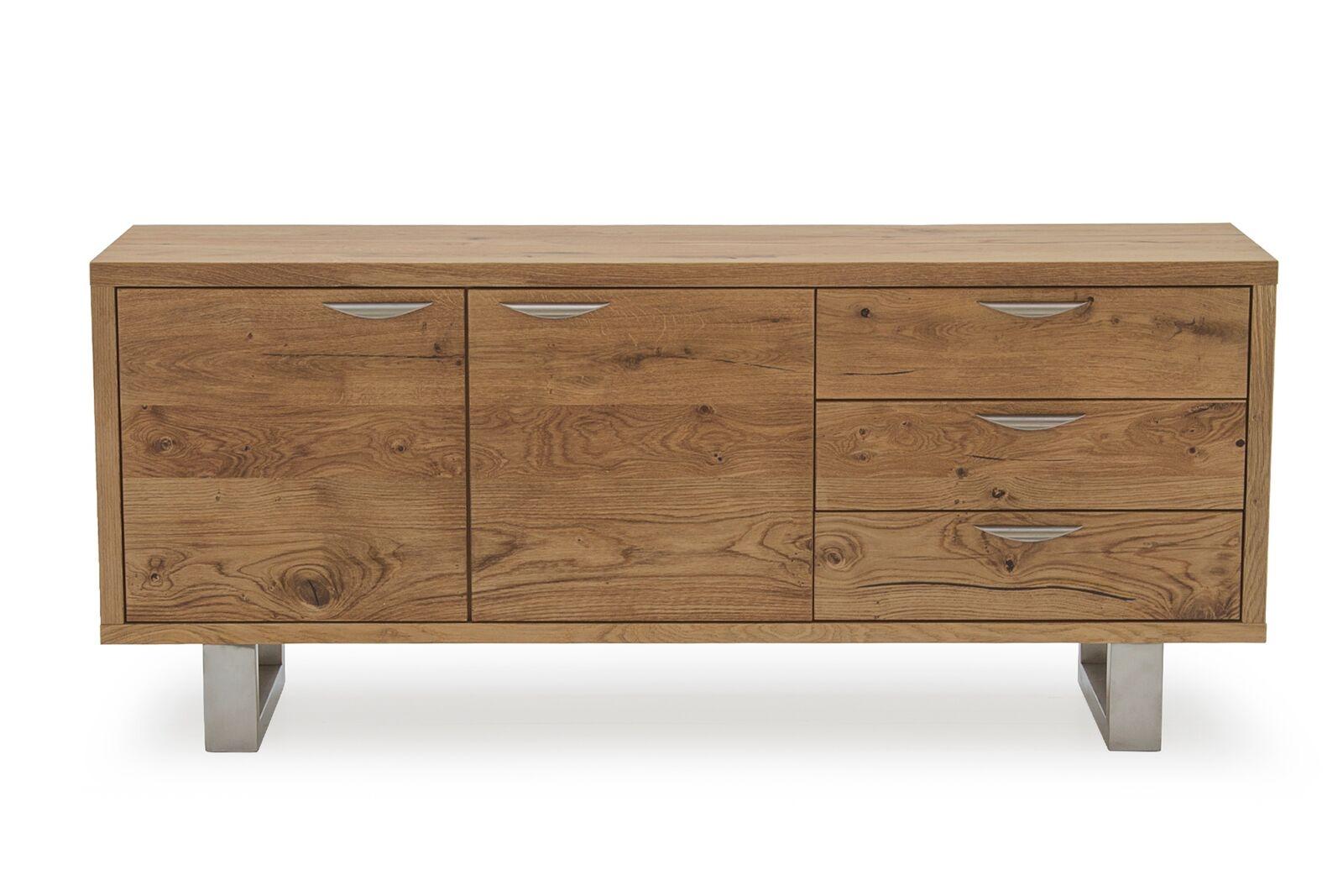 Comoda din lemn de stejar si metal cu 3 sertare si 2 usi Trier Oak l175xA45xH73 cm