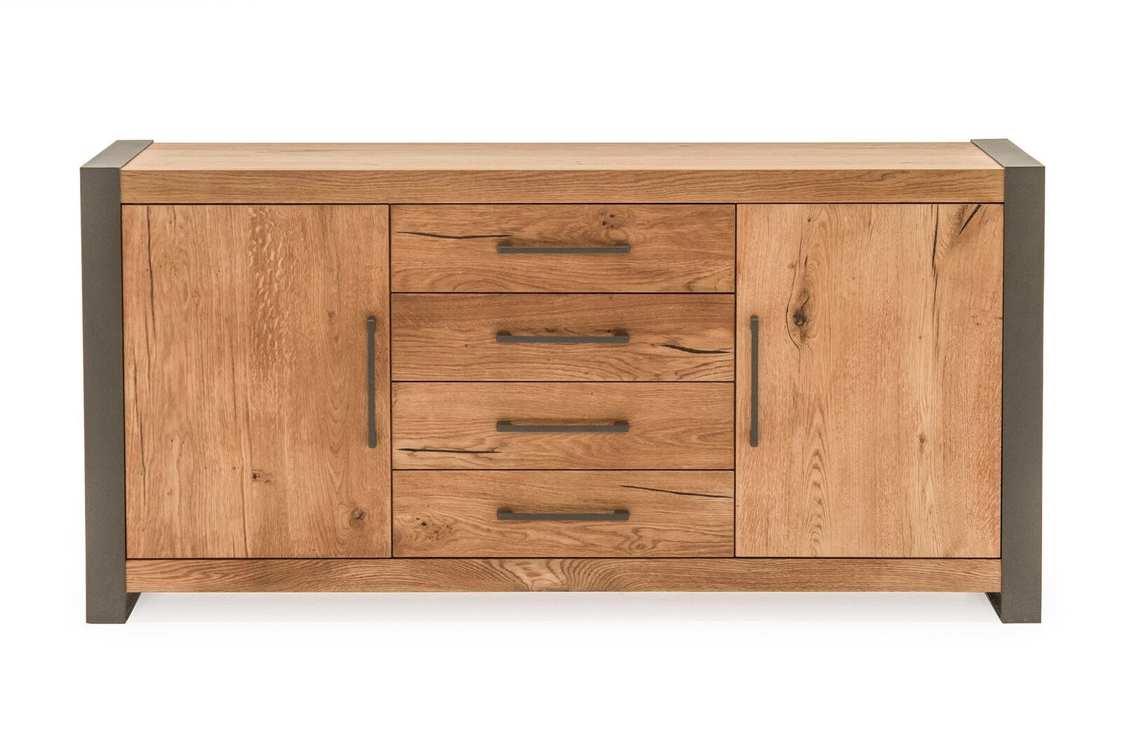 Comoda din lemn de stejar si metal cu 4 sertare si 2 usi Lindau Oak l168xA45xH82 cm