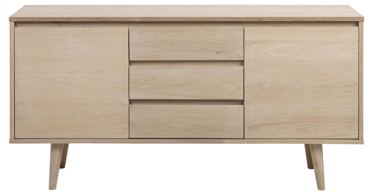 Comoda din lemn si furnir, cu 3 sertare si 2 usi Nagano Stejar Deschis, l150xA40xH75 cm