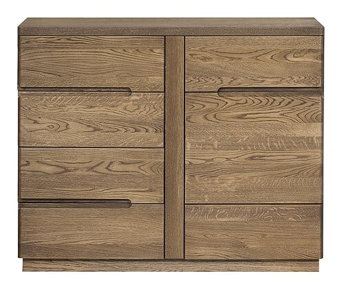 Comoda din lemn si furnir, cu 4 sertare si 1 usa Negro 44 Stejar Rustic, l108xA42xH87 cm