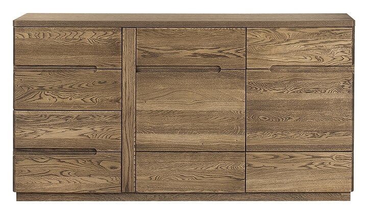 Comoda din lemn si furnir cu 4 sertare si 2 usi Negro 45 Oak l163xA42xH87 cm