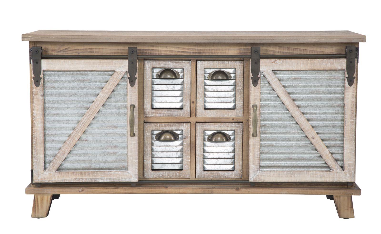Comoda din lemn si metal cu 2 usi culisante Old West II