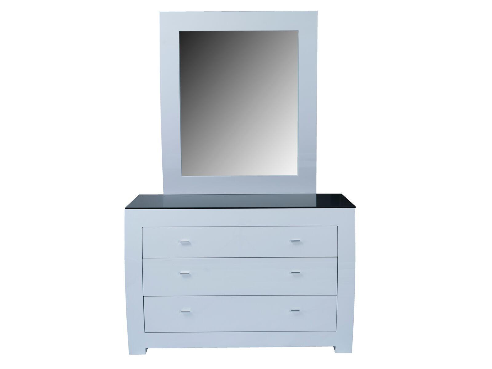 Comoda din MDF cu oglinda si 3 sertare Newport White l120xA505xH80 cm