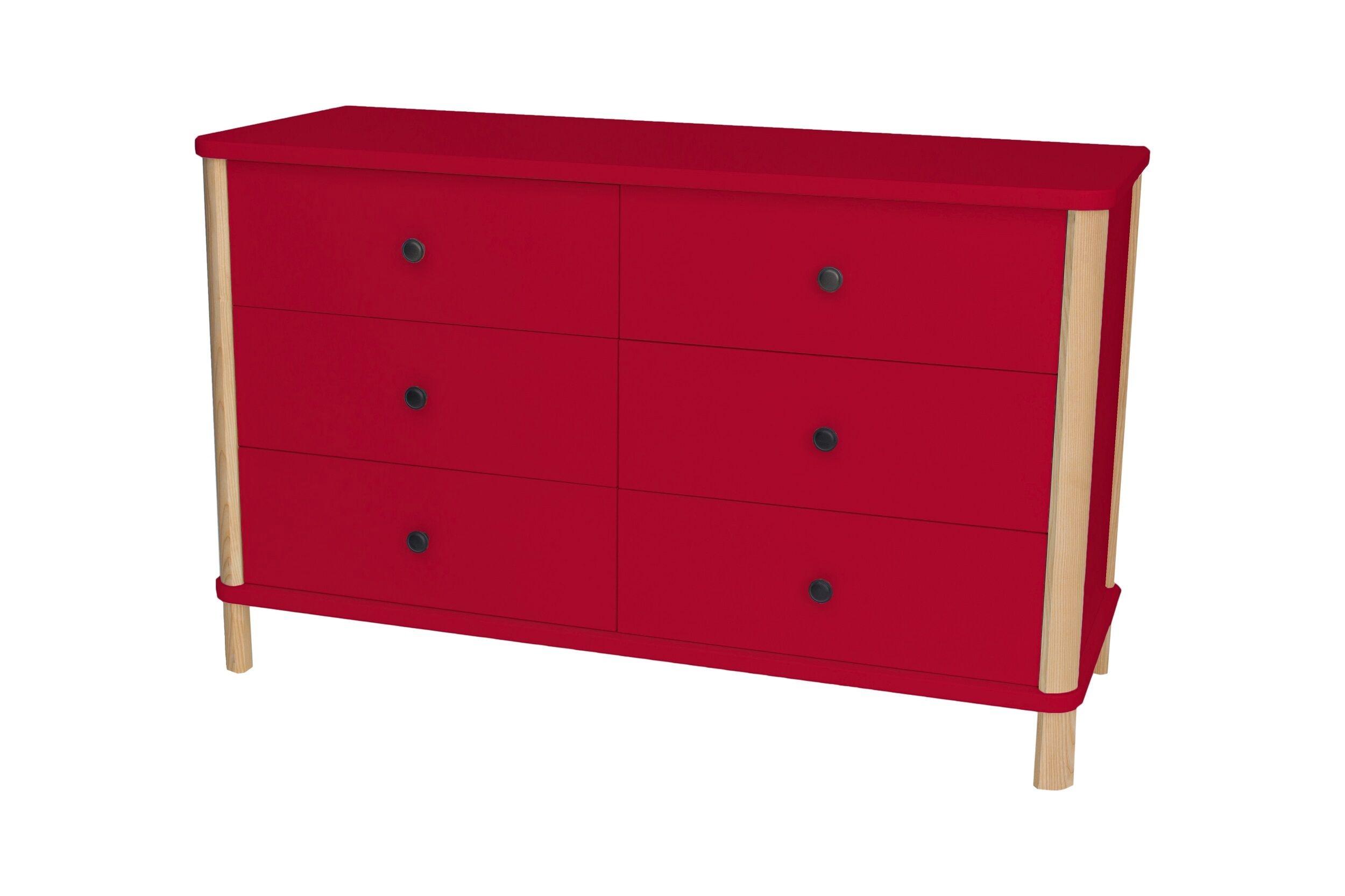 Comoda din MDF si lemn de frasin cu 6 sertare Ashme Small Boy Red l114xA45xH70 cm
