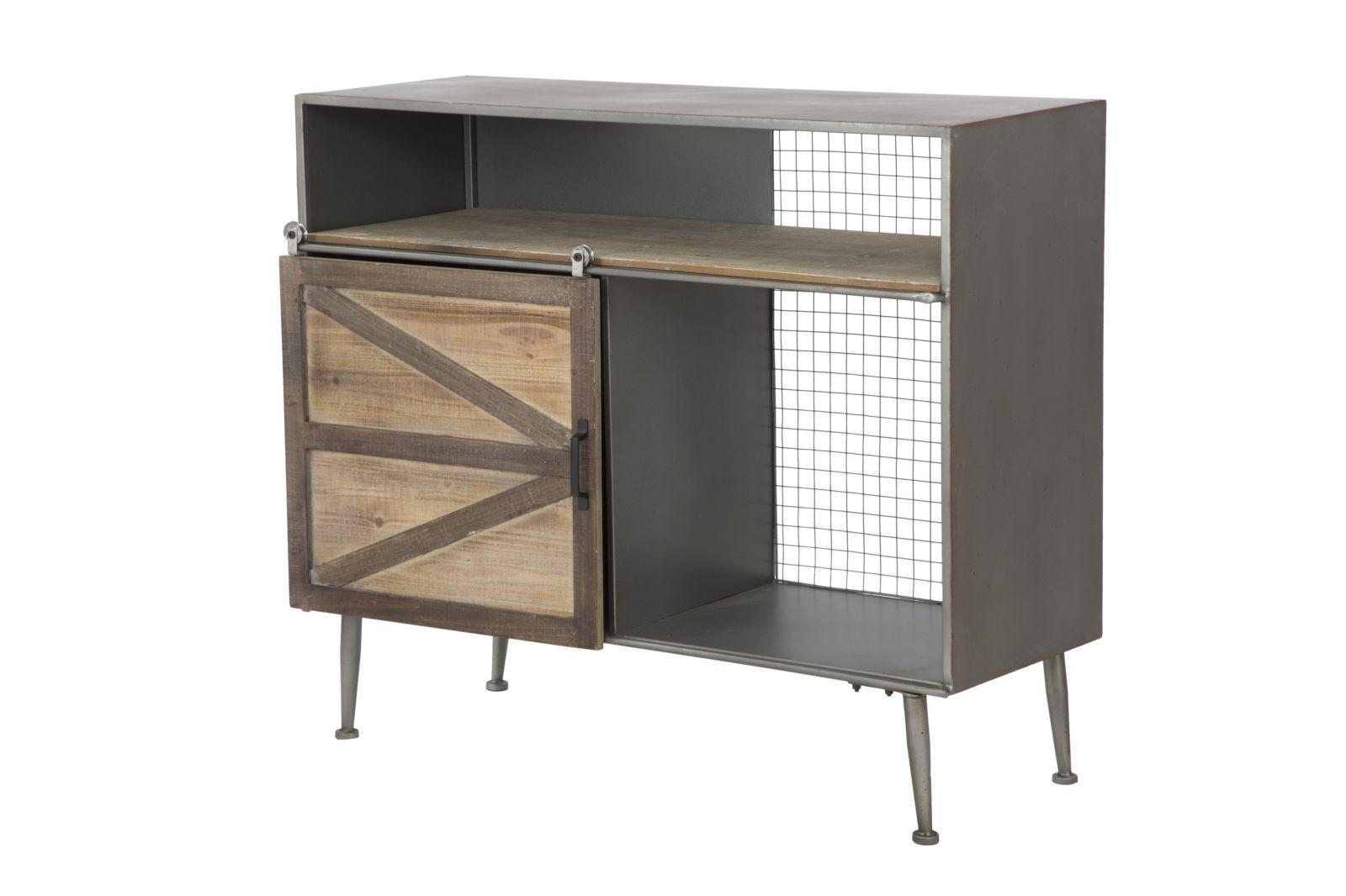 Comoda din metal si lemn cu usa culisanta Seattle l100xA42xH865 cm