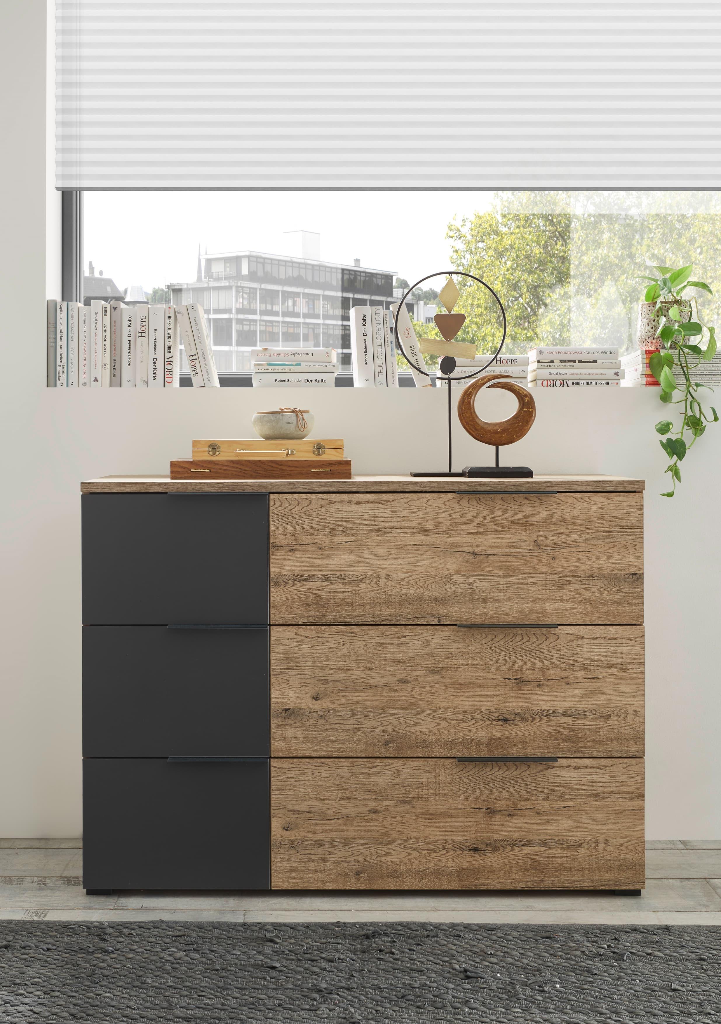 Comoda din pal, cu 3 sertare Lines Grafit / Stejar, l120xA40xH89 cm somproduct.ro