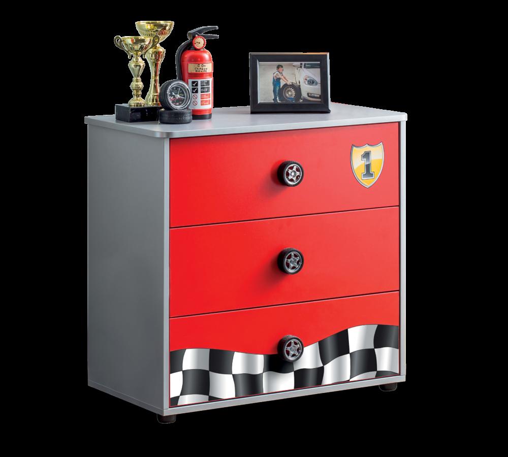 Comoda din pal cu 3 sertare, pentru copii Race Cup Rosu, l76xA42xH74 cm somproduct.ro