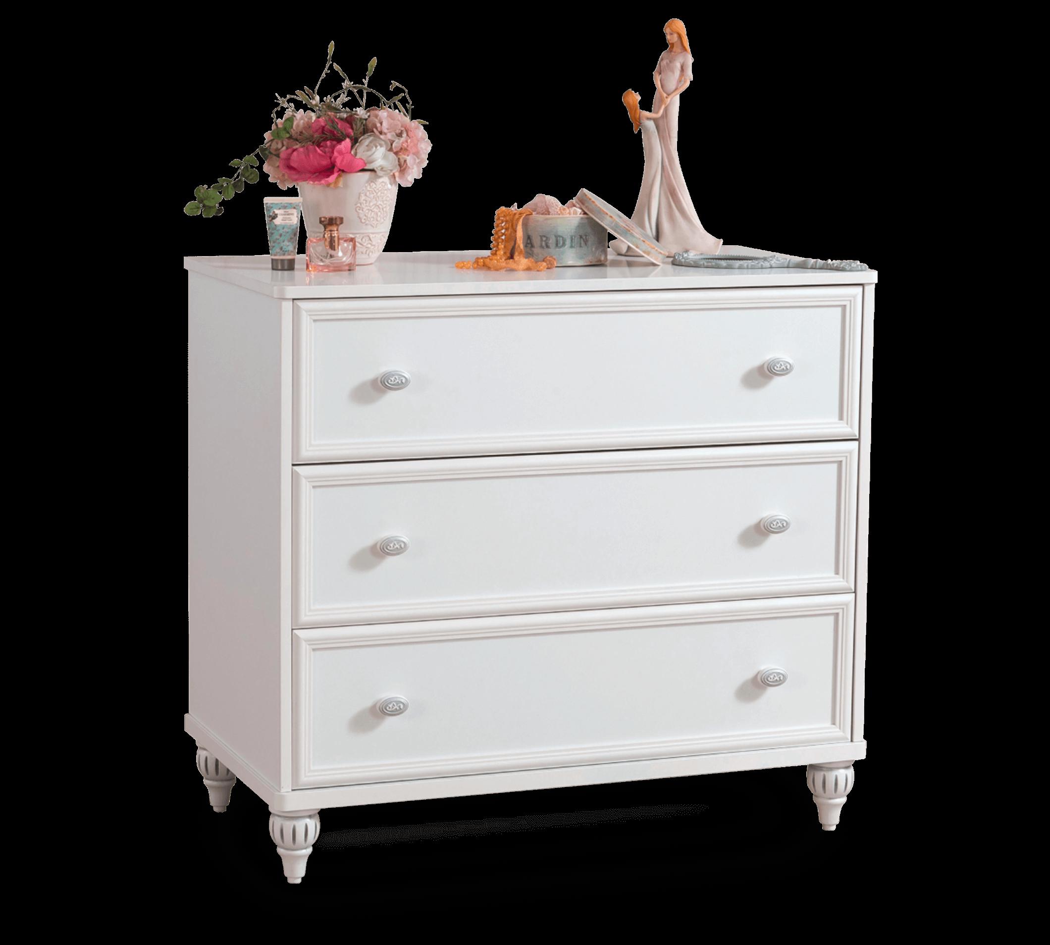 Comoda din pal cu 3 sertare, pentru copii si tineret Romantica White, l90xA50xH84 cm imagine