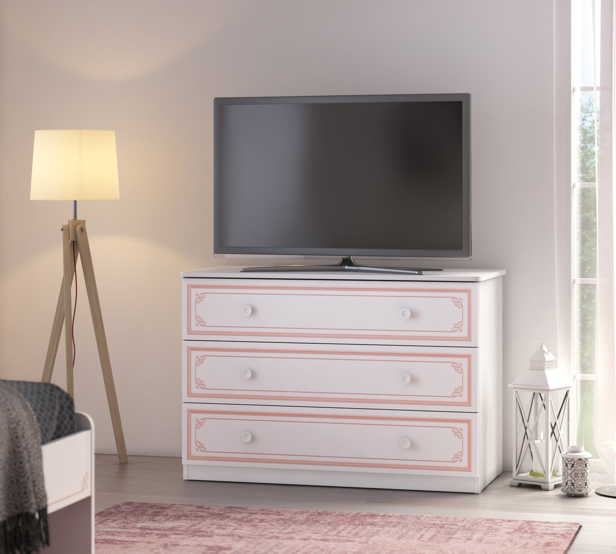 Comoda din pal cu 3 sertare, pentru tineret Selena Large Pink Alb / Roz, l107xA53xH75 cm imagine