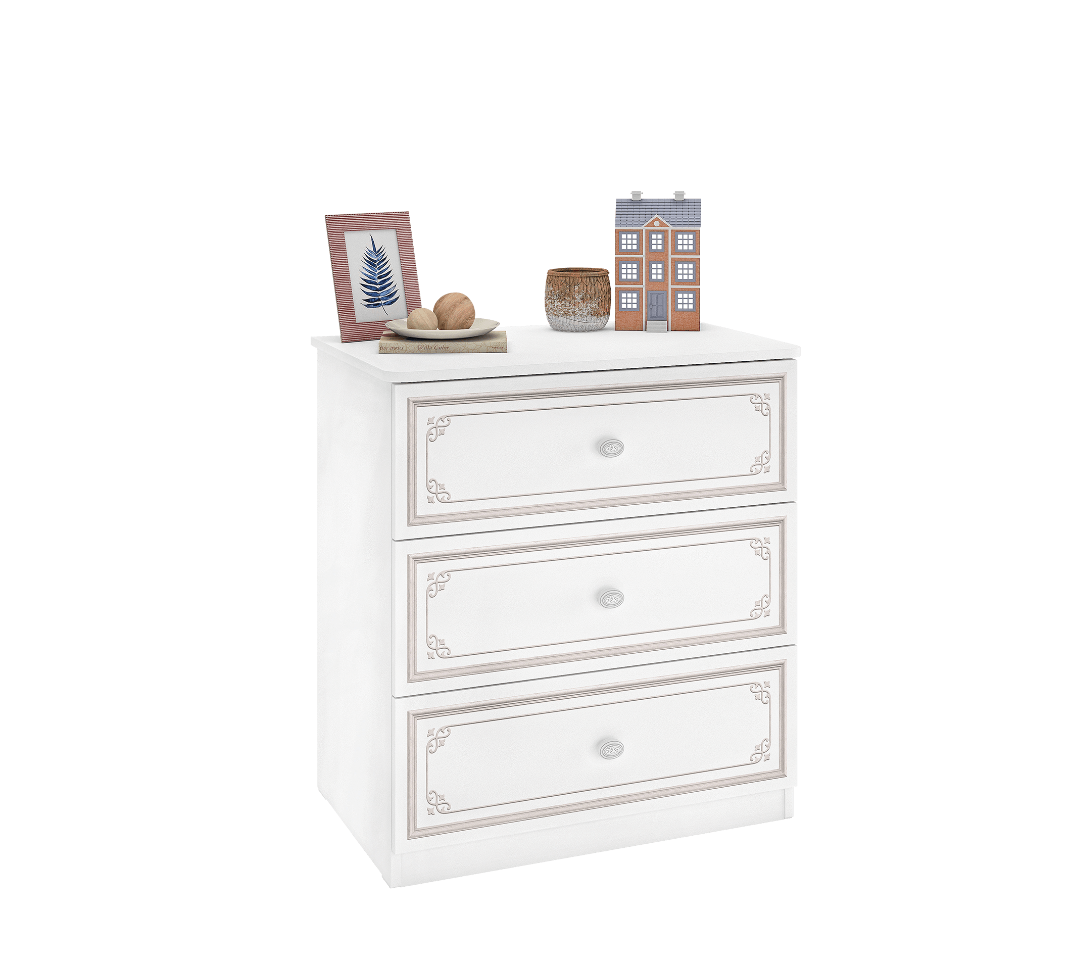 Comoda din pal cu 3 sertare, pentru tineret Selena Small Grey Alb / Gri, l73xA49xH80 cm imagine