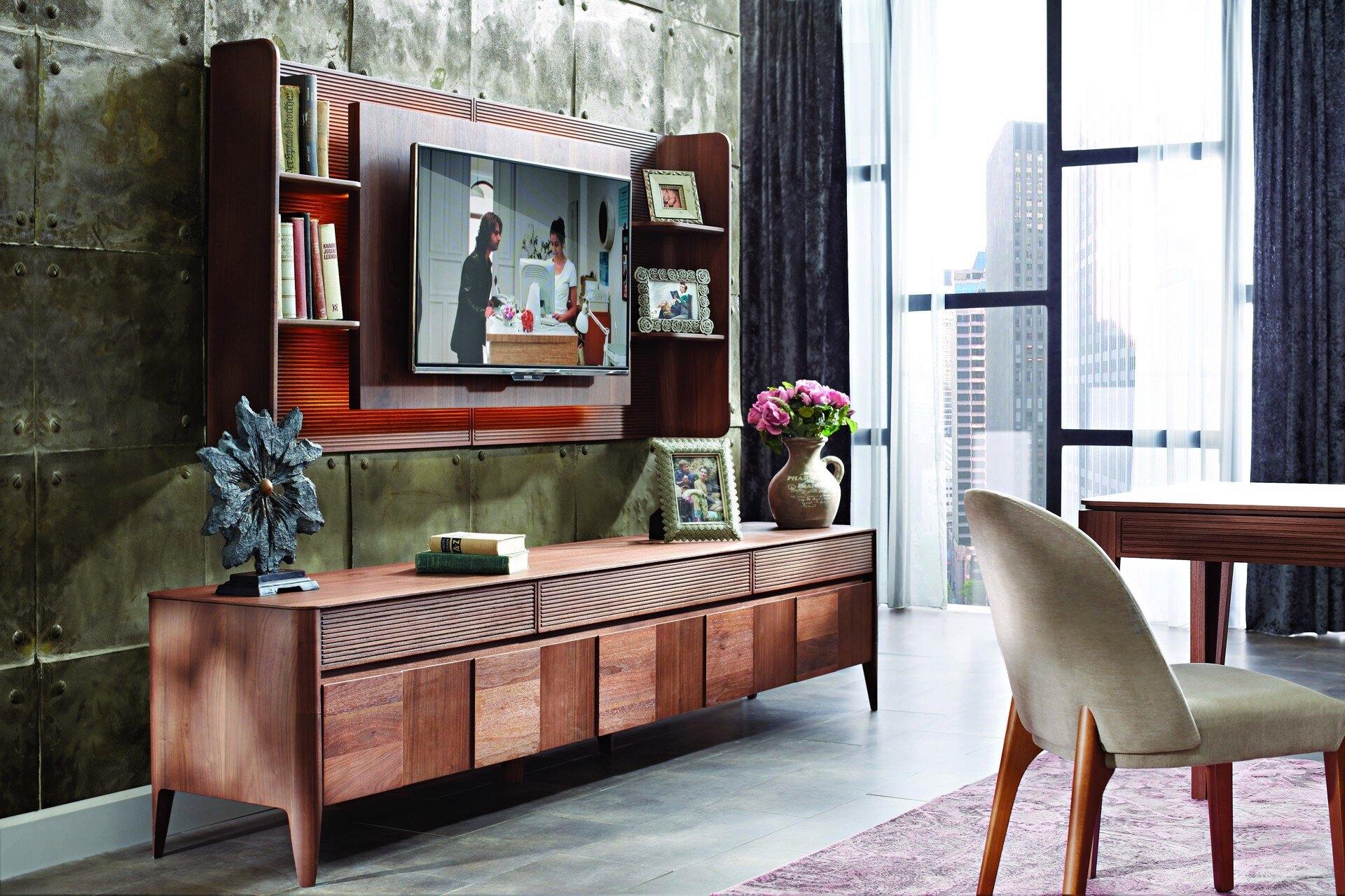 Comoda TV din pal cu 3 sertare si 3 usi Noble Large Nuc, l261,5xA48,7xH57,8 cm imagine