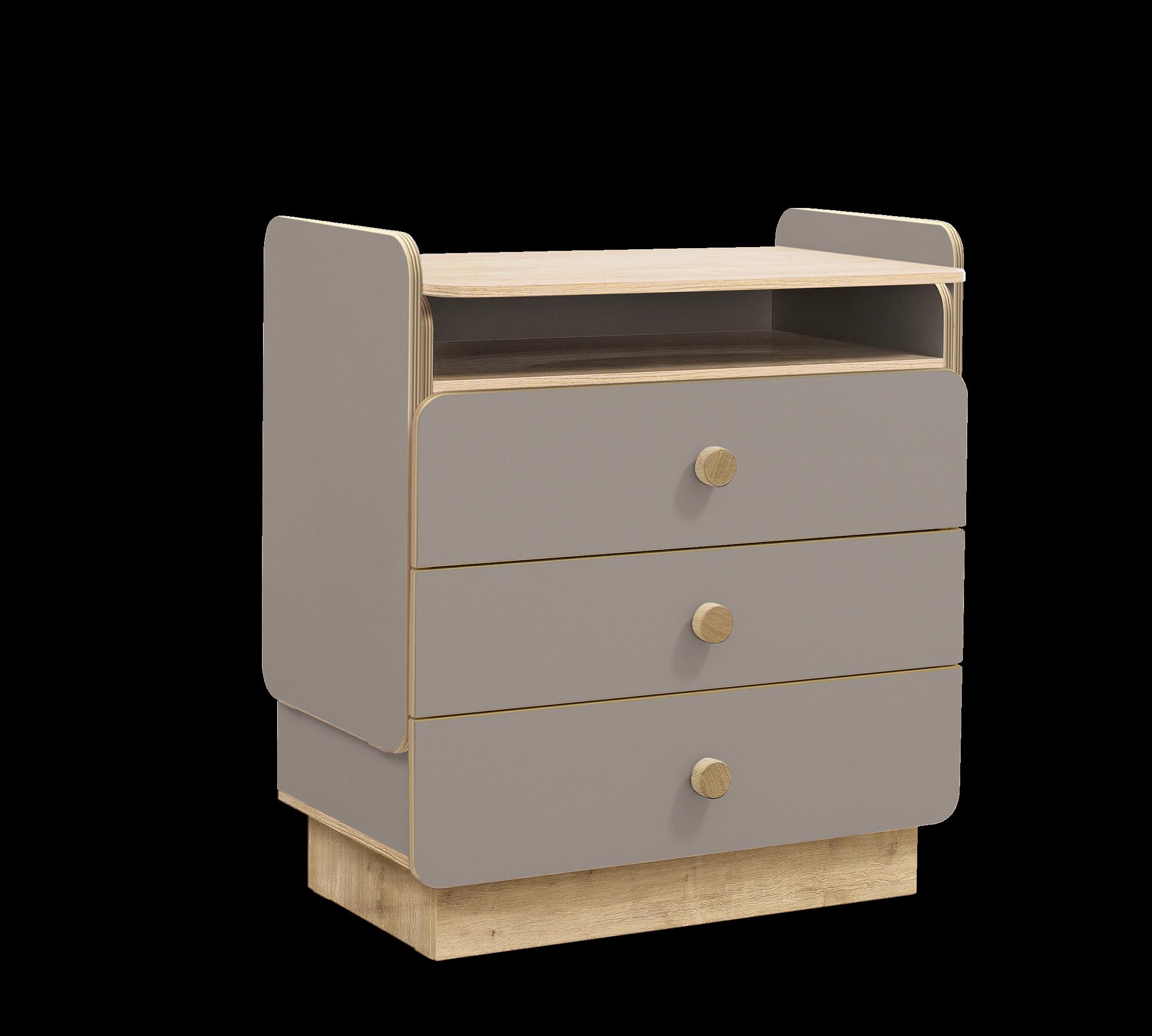 Comoda din pal cu 3 sertare, transformabila pentru bebe Baby Grey / Natural, l85xA51xH94 cm imagine