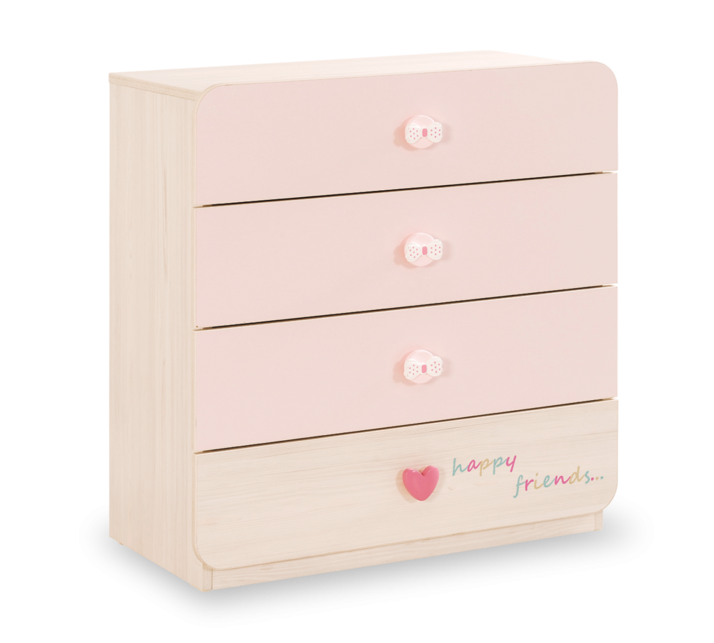 Comoda din pal cu 4 sertare pentru bebe Baby Girl Light Pink / Nature l78xA42xH80 cm