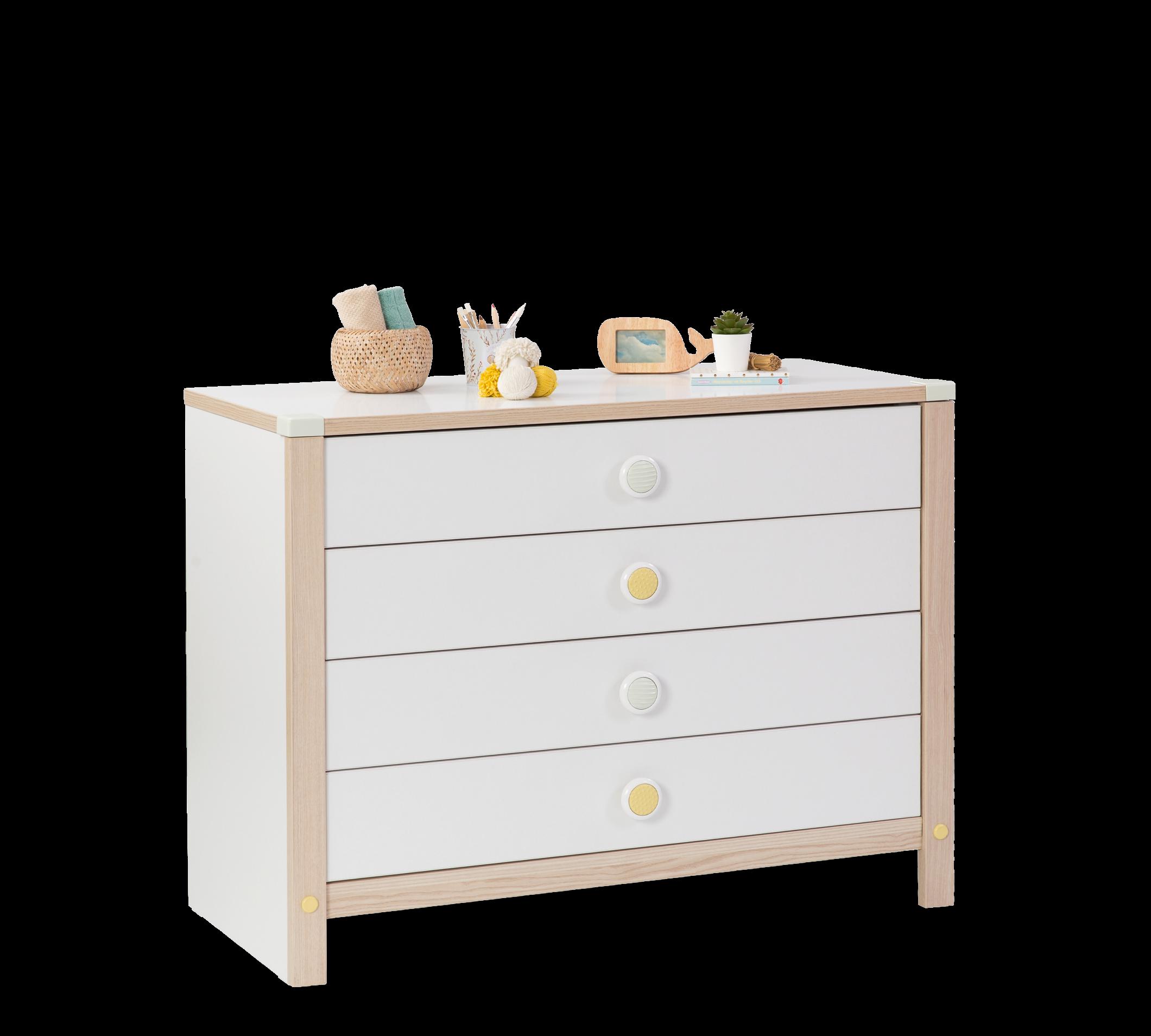 Comoda din pal, cu 4 sertare pentru bebe Montessori Baby Alb / Natural, l106xA52xH81 cm imagine