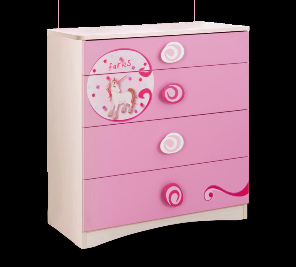 Comoda din pal cu 4 sertare, pentru copii Little Princess Pink / Nature, l75xA41xH79 cm imagine