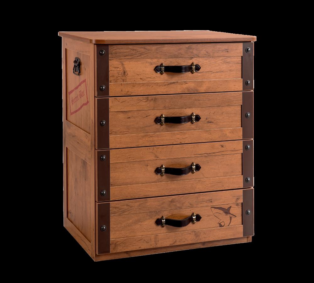 Comoda din pal cu 4 sertare pentru copii Pirate Brown l67xA48xH82 cm