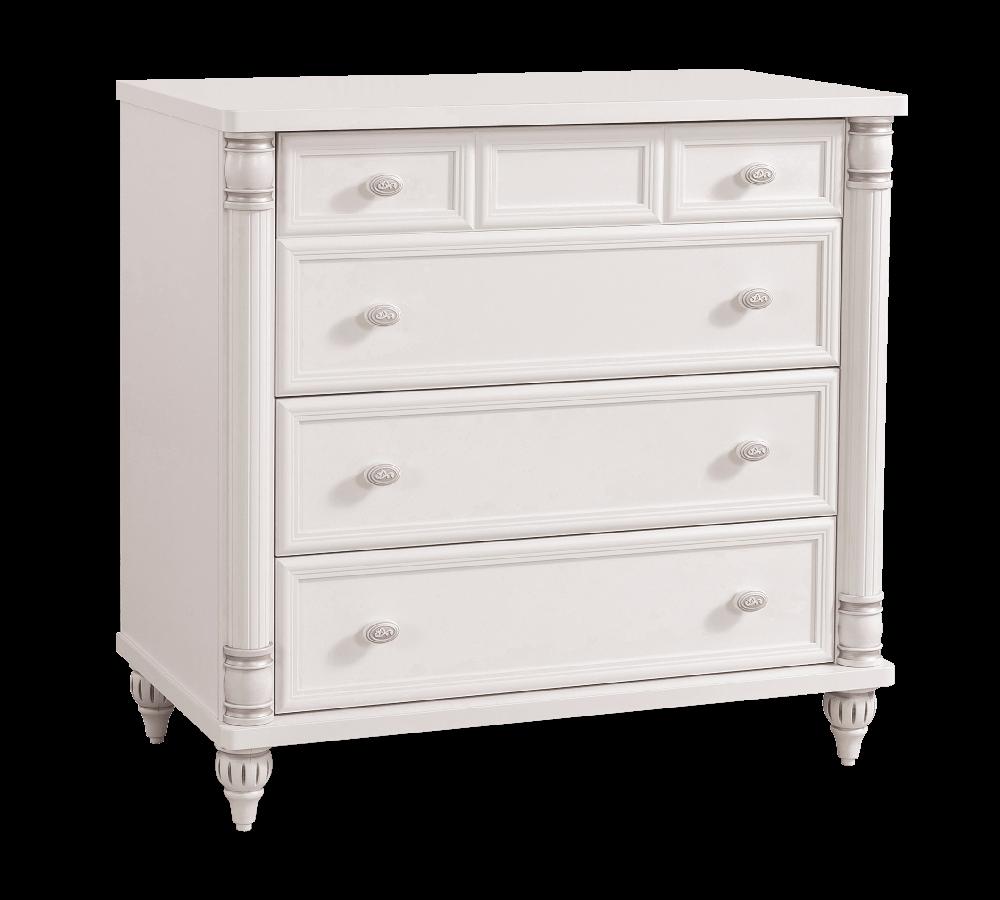 Comoda din pal cu 4 sertare, pentru copii si tineret Romantic White, l90xA49xH88 cm imagine
