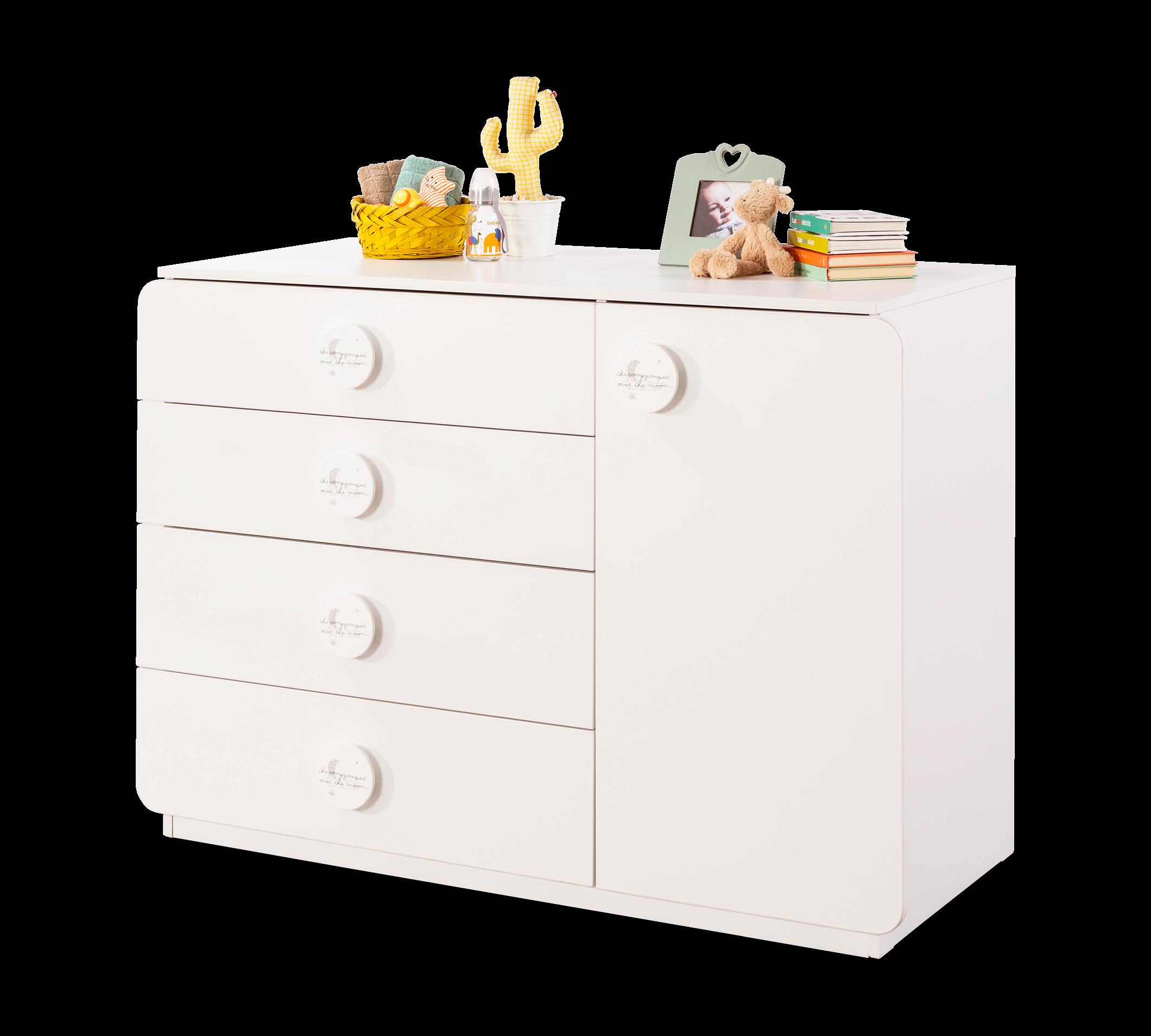 Comoda din pal cu 4 sertare si 1 usa, pentru bebe Baby Cotton Alb, l125xA56xH89 cm imagine