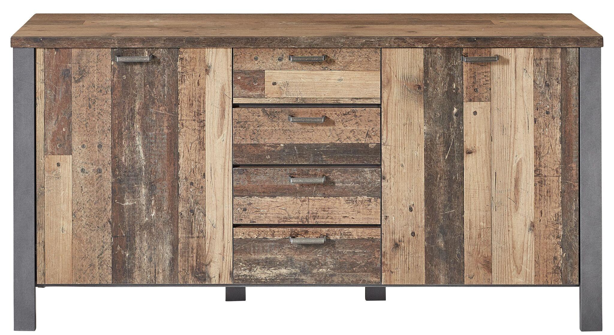 Comoda din pal, cu 4 sertare si 2 usi Chelsea Natural / Grafit, l179xA44xH88 cm