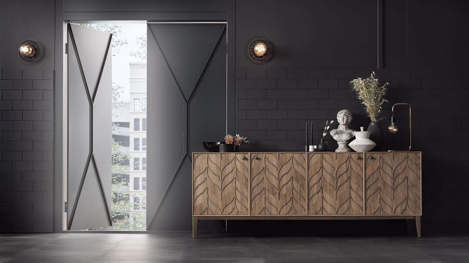 Comoda din pal si lemn de fag, cu 4 usi Piante Nuc, l210,6xA47,5xH79 cm imagine