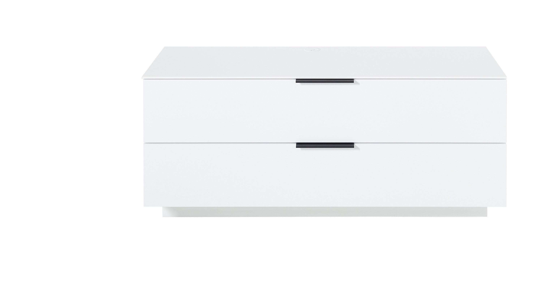 Comoda din pal si MDF cu 1 sertar si 1 usa, Madeline Alb, l140xA44xH61 cm imagine