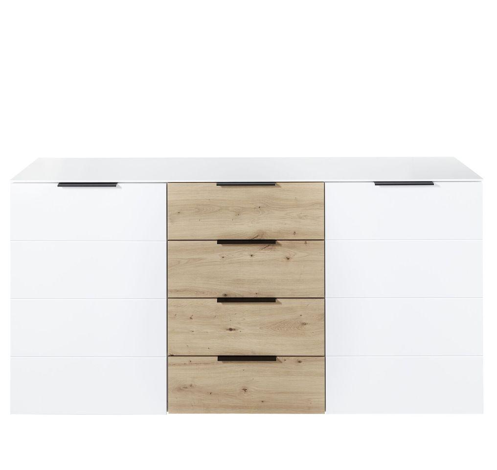 Comoda din pal si MDF cu 4 sertare si 2 usi, Madeline Alb / Stejar, l180xA44xH90 cm imagine