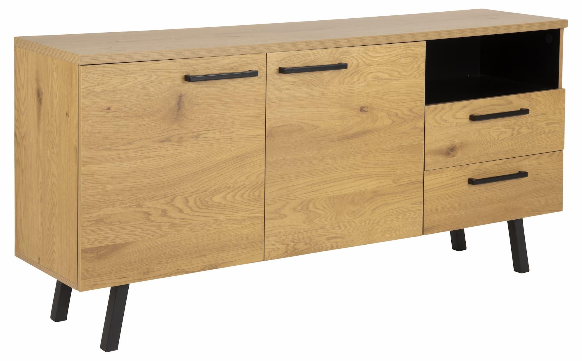 Comoda din pal si metal, cu 2 sertare si 2 usi Mallow Stejar / Negru, l165xA40xH78 cm imagine
