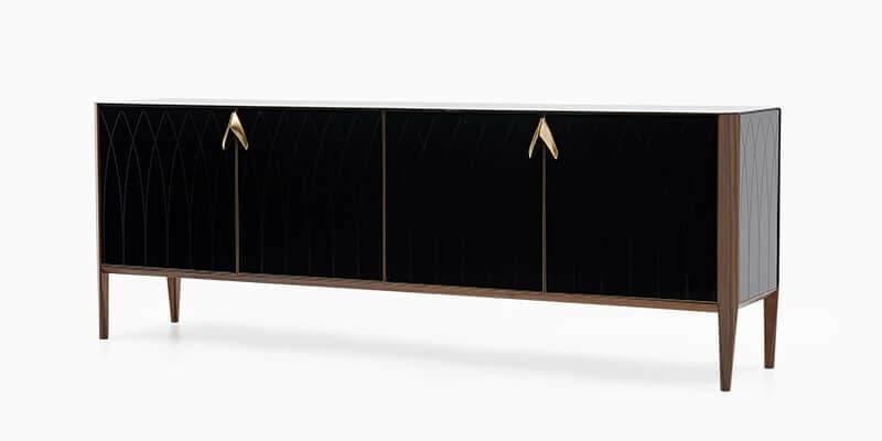 Comoda din lemn si sticla cu 4 usi Logan Negru / Nuc, l219,9xl47,2xH81,9 cm imagine