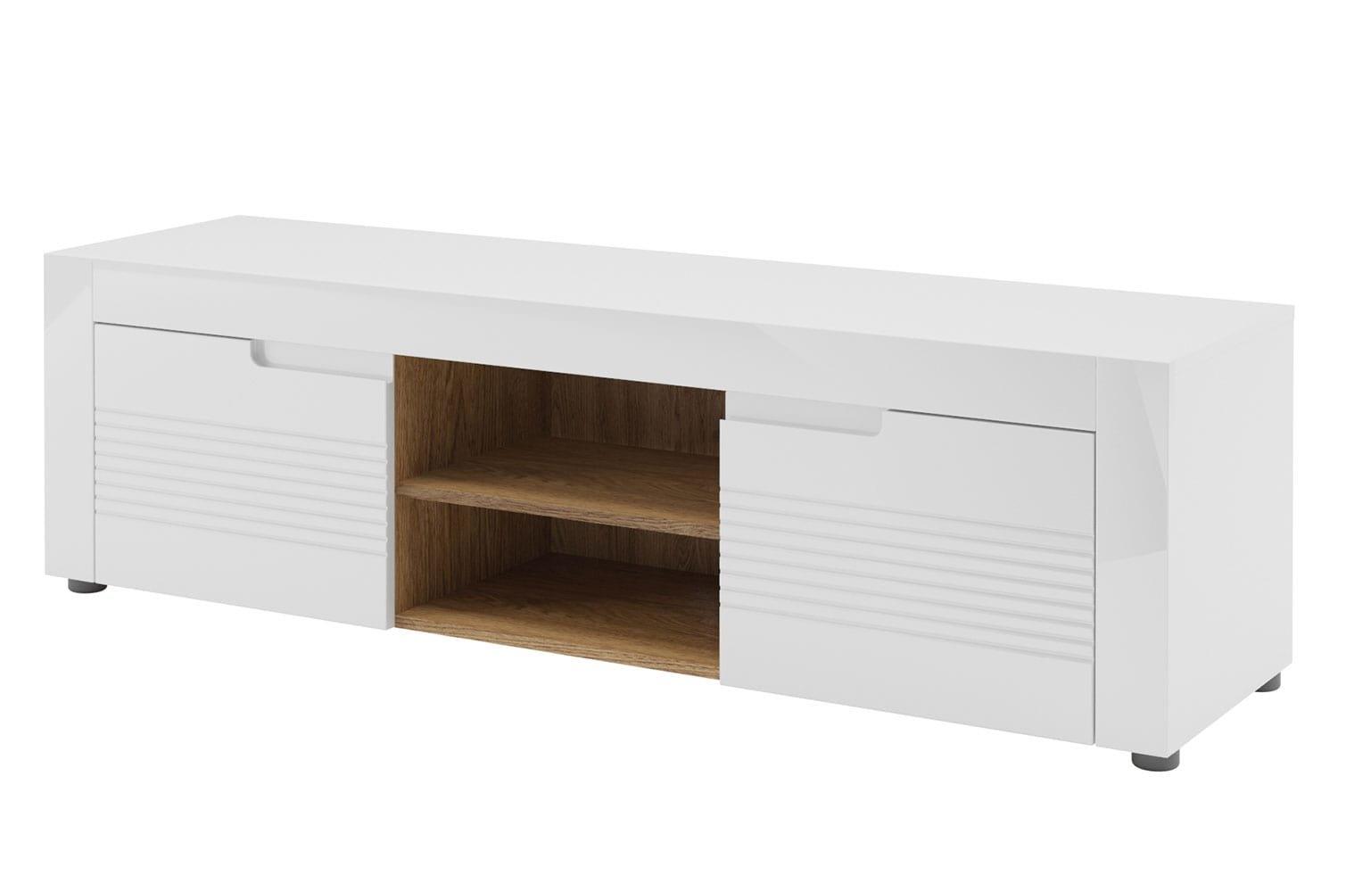 Comoda TV din pal si MDF, cu 2 usi Belfort 25 Alb, l150xA41xH44 cm imagine