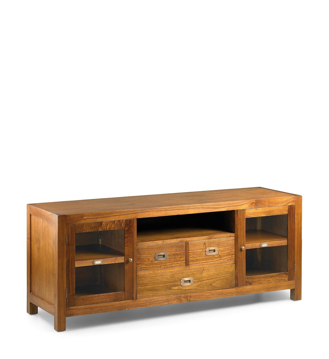 Comoda TV din lemn cu 3 sertare si 2 usi Star Nuc, l150xA45xH60 cm imagine