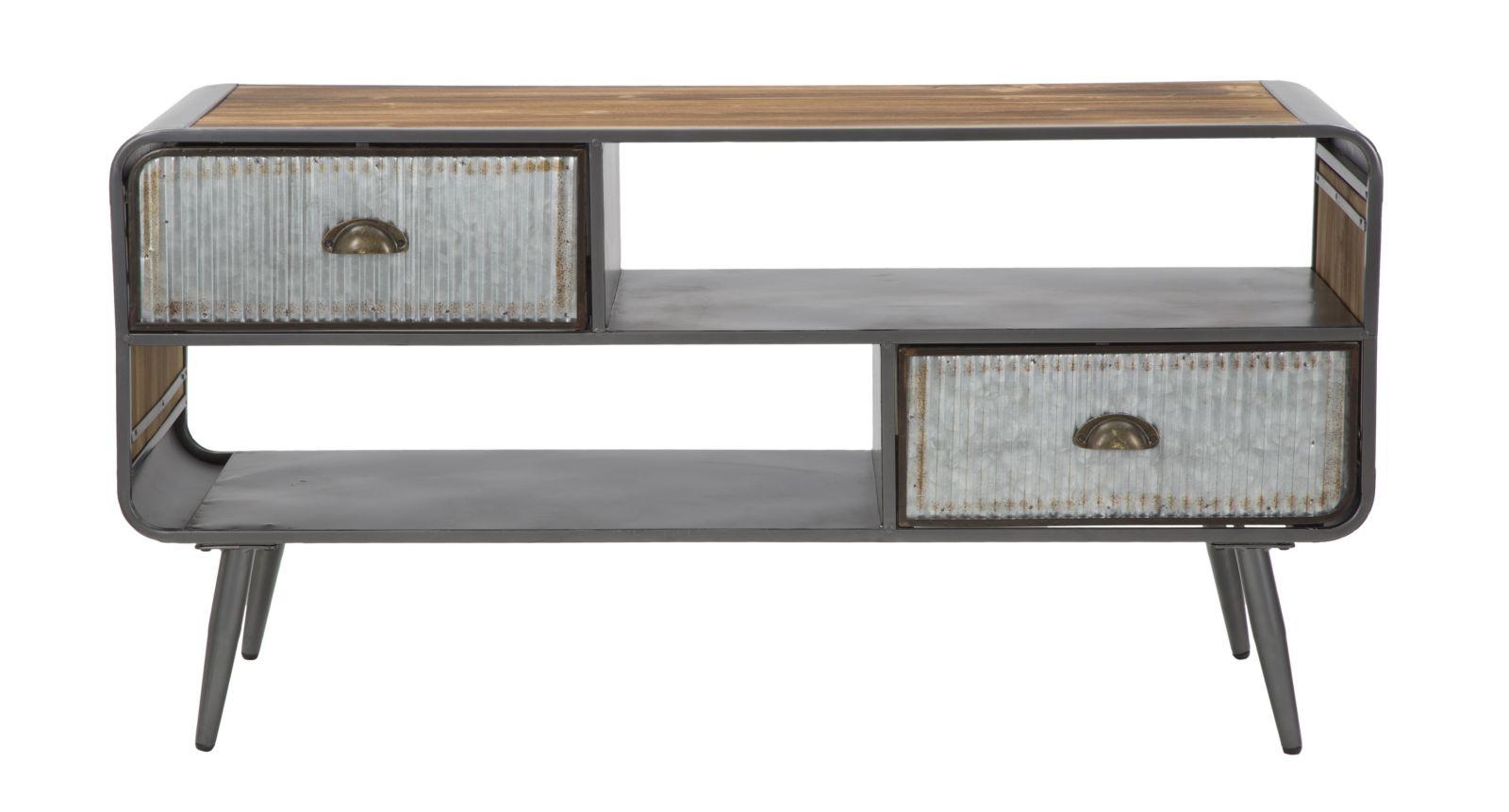 Comoda TV din lemn de brad si metal cu 2 sertare Illinois Grey / Natural, l40xA120,5xH61 cm