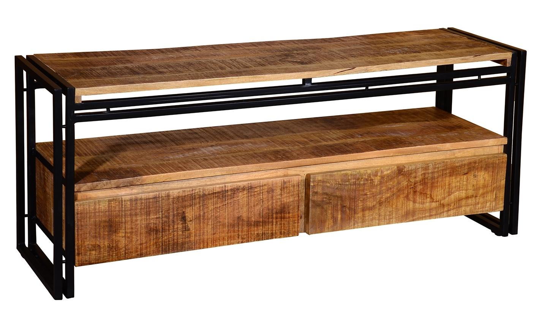 Comoda TV din lemn de mango si metal cu 2 sertare Orleans Natural l140xA40xH56 cm