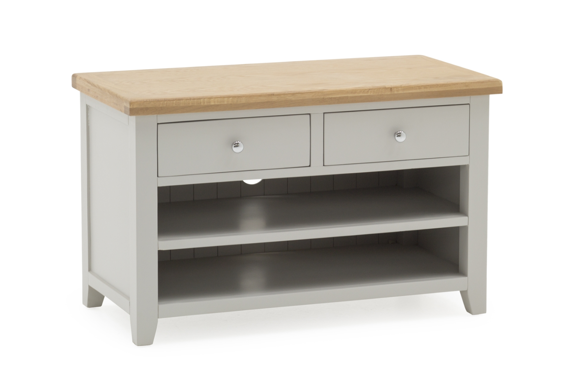 Comoda TV din lemn de pin si MDF cu 2 sertare Ferndale Grey / Oak l89xA44xH55 cm