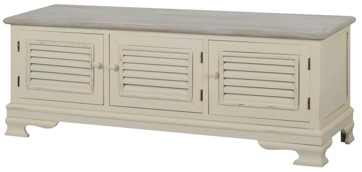 Comoda TV din lemn de plop si MDF, Pesaro PE036, l120xA39xH47 cm imagine