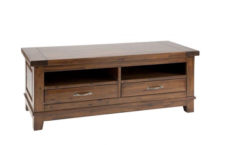 Comoda TV din lemn de salcam cu 2 sertare Emerson Brown l133xA55xH50 cm