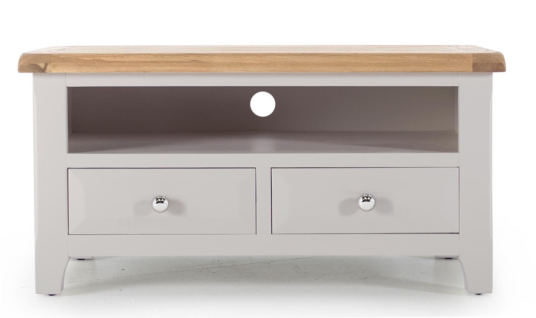 Comoda TV din lemn de salcam si stejar cu 2 sertare Clemence Grey / Oak l100xA45xH50 cm