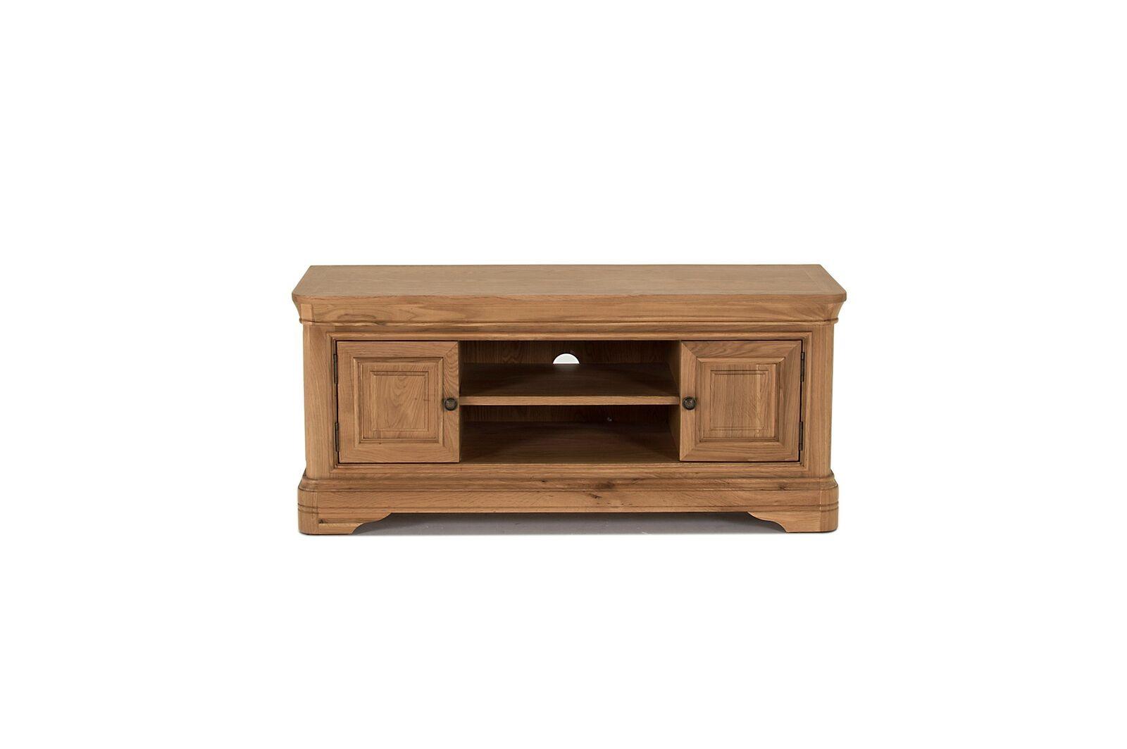 Comoda TV din lemn de stejar si furnir cu 2 usi Carmen Oak l125xA465xH55 cm