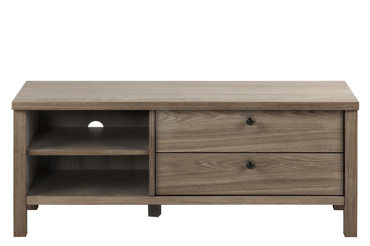 Comoda TV din lemn si furnir, cu 2 sertare Brentwood Gri, l120xA37xH50 cm