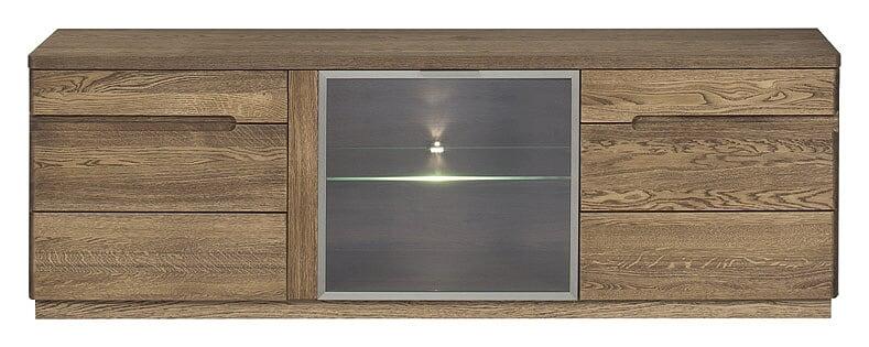 Comoda TV din lemn si furnir cu 3 usi Negro Tall 26 Oak l163xA42xH59 cm